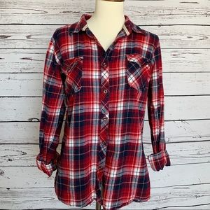 Natural Reflections Red White & Blue Plaid Flannel